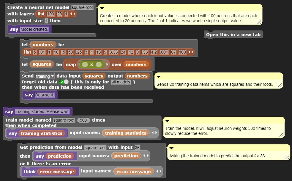 Screenshot showing 4 new machine learning blocks